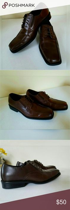 Dapper Man. Walk in Style. Brown Leather Square toe Shoes. Fabric lined. Gently worn. Lace up. Rubber heel. Last photo picture is lighten so you can see the shoe better. Other photos are true to color.   MEASUREMENTS  LENGTH 12.3 inches Width across the widest part of foot 4.5 inches  Always willing to negotiate Alfani Shoes