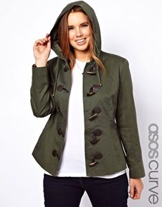 Image 1 ofASOS CURVE Exclusive Duffle Coat With PU Clasps