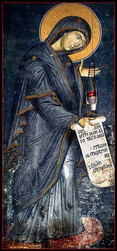 Mother Of God, Most Holy Theotokos ~ Fresco from Decani Monastery, 14th century, Kosovo, Serbia