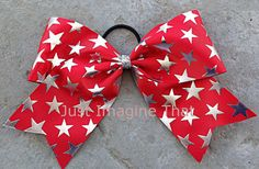 3 Width Cheer Bow 7x6.5 Texas Size Red w/Silver Foil  Stars Cheer by JustImagineThatBows