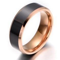 Men's Black Tungsten Carbide & Rose Gold Wedding Band