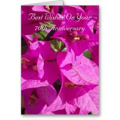 #70th #Wedding #Anniversary Card Bougainvillea. Customize with any text of your choice.