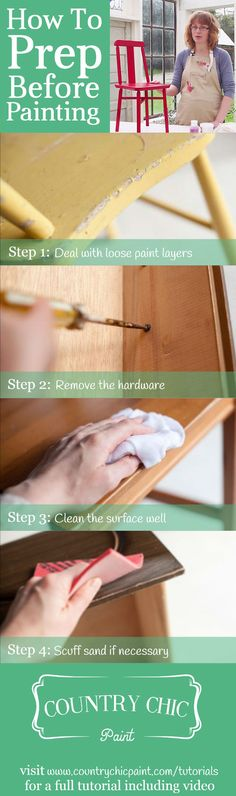 How to prep your furniture for paint | surface prep tutorial #countrychicpaint - www.countrychicpaint.com/tutorials