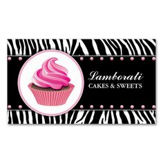 Cupcake Bakery Zebra Print Pink Elegant Modern Double-Sided Standard Business Cards (Pack Of 100). This great business card design is available for customization. All text style, colors, sizes can be modified to fit your needs. Just click the image to learn more!