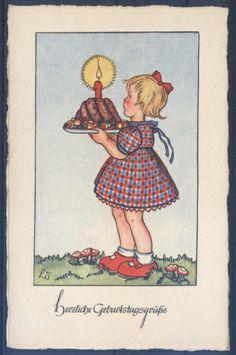 Künstlerkarte - L. Scherbauer - Geburtstag ( K01026 ), Briefmarken-Versand-Welt - Briefmarken, Ansichtskarten und mehr