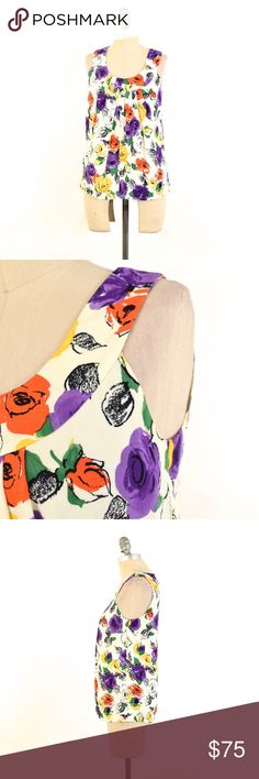 NWT Kate Spade Matinee Floral Sleeveless Blouse Soft, viscose crepe blouse form Kate Spade. Brand new with tags. Bright floral print. Drapes from the neckline, semi-fitted through the waist. Size XS. kate spade Tops Blouses