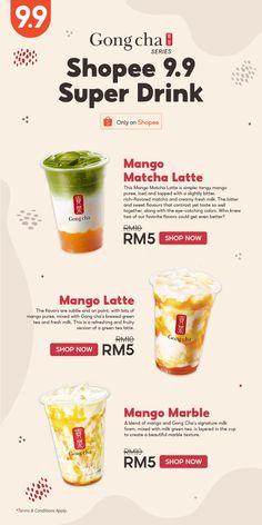 Gong Cha x Shopee 9.9 Super Shopping Day RM5 Cafe Menu, Cafe Food, Menu Restaurant, Food Menu Design, Food Poster Design, Bubble Tea Menu, Cafeteria Menu, Tea Illustration, Digital Menu