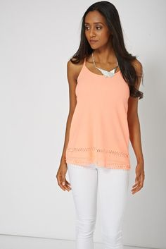 Coral Strappy Cutout Top