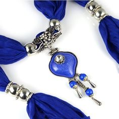 Stylish Charming Gemstone Accessory Pendant Scarf - Beautiful pendants on www.jewelryscarfcanada.com