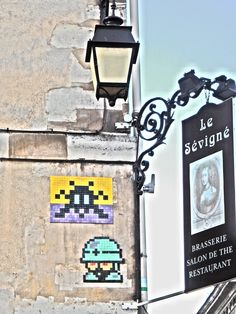 In the Army. Space Invader. Montmartre. Paris, France. 27dec14.