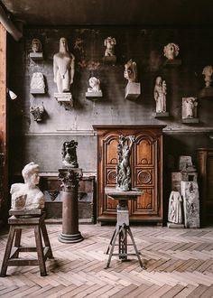 The atelier of Antoine Bourdelle (French, now the Musée Bourdelle, located at rue Antoine Bourdelle, in the arrondissement of Paris, France. Rodin, Antoine Bourdelle, The Secret History, Exhibition, Corporate Design, Art Studios, Sculpture Art, Sculpture Museum, Light In The Dark
