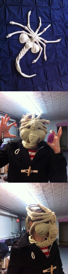 Knit Alien Facehugger Mask Pic Knitting Charts Crochet And Craft