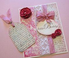 Birthday Card  Handmade Card  Pink Roses  Fancy by CardsbyGayelynn, $6.00
