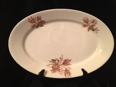 antique ironstone platter with Moss Rose