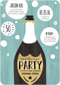 Bubbling Delight - Adult Birthday Party Invitations - Magnolia Press - Sea Glass - Green