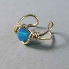 Ear Cuff 14k Gold Filled Caribbean Blue Opal by WireYourWorld, $7.95