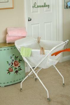 Vintage Rolling / Folding Laundry Cart By PozeyPincushionsPlus, $50.00