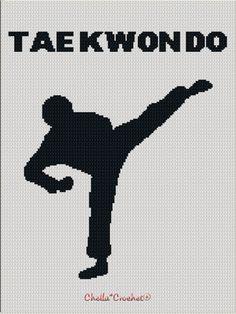 Tae Kwon Do Martial Arts Kick Afghan Crochet Knit Cross Stitch Pattern Graph