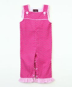This Pink Polka Dot Ruffle Playsuit - Infant & Toddler by Lil Cactus is perfect! #zulilyfinds
