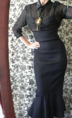 High Waist Burlesque Hobble Wiggle Skirt with Fishtail, custom made all sizes. $133.00, via Etsy.