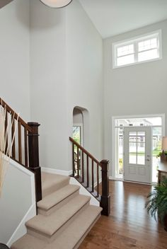 Wall color is Repose Gray Sherwin Williams. 2 storey entryway foyer and stairwell with beige carpet on stairs. Room Paint Colors, Interior Paint Colors, Paint Colors For Home, Wall Colors, House Colors, Sherwin Williams Repose Gray, Sw Repose Gray, Repose Gray Paint, Grey Paint