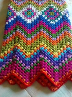 Crochet granny square ripple blanket