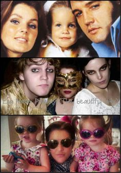 Presley family collage Priscilla Lisa and Elvis Lisa and two oldest Lisa and twin girls