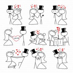 Stick Figure Wedding Clipart Clip Art Stick People di TeoldDesign  Stop by my Etsy Shop: www.etsy.com/shop/TeoldDesign