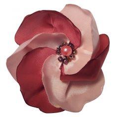 Brosa floare textila handmade, roz-visiniu, 7 cm diametru