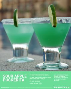 Sour Apple Puckerita - Combine 3/4 parts Sauza® Tequila, 1/2 part DeKuyper® Pucker® Sour Apple Schnapps, 1/2 part Sour Mix and 1 dash of Lime juice. Can be served over ice or frozen. Garnish with a lime and salt on the rim. Cheers!