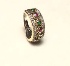 Ottoman Turkish Handmade Sterling Silver Ruby, Emerald  & Topaz Ring Size 8  | eBay