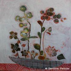 Flowers paintings - Sandrine Pelissier, Watercolor and mixed media paintings