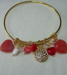 Gold and Red Charm Bangle