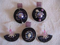 Tutto viola - orecchini e ciondoli - fatti con capsule Nespresso