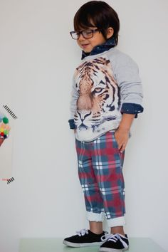 Is there anything sweeter than plaid on kids? Add a tiger print into the mix and the combination equates to some serious fashion goodness. Boys Wear, Tiger Print, Kid Styles, Boy Fashion, Cool Kids, Beautiful Outfits, Boy Outfits, Cute Babies, Plaid