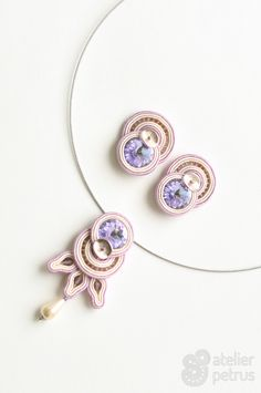 Leila - handmade soutache earrings and necklace with swarovski elements
