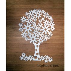 Paper cut Template, Flowering Tree, SVG Cutting File and PDF DIY printout, Instant Download. by DigitalGems on Etsy