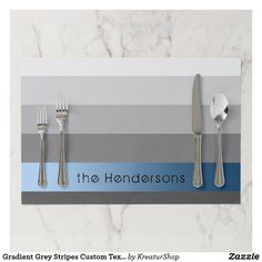 Gradient Grey Stripes Custom Text Blue Banner Paper Placemat Teal Green, Blue, Interior Photo, Placemat, Gradient Color, Grey Stripes, Red Roses, Creative Design, Cool Designs