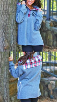 Okay preppy girls, this one is for you! Our NEW Monogrammed Snap Pullover comes in this gorgeous heathered gray with plaid AND in a navy with pink seersucker! Perfect for those cool fall days. Preview this jersey with your monogram on it NOW at Marleylilly.com!