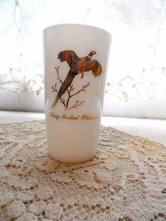 FEDERAL GLASS Co. White Milk Glass with 22 K Gold Ring Necked Pheasant Design on Both Sides- Drinking Glass- Tumbler- Vintage Tableware