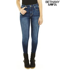 High-Rise Dark Wash Jegging from Bethany Mota collection at Aeropostale