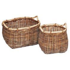 Malia Curved Rattan Wicker Baskets - Set of 2, Brown