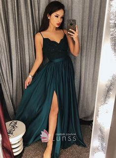 Sexy Dark Green V-Neck Lace Bodice Prom/Evening Dres Slit Side Prom Dress, Lace Evening Dress, Sexy Prom Dress, V-neck Prom Dress, Green Prom Dress Prom Dresses 2019 Dark Green Prom Dresses, Split Prom Dresses, Straps Prom Dresses, V Neck Prom Dresses, A Line Prom Dresses, Grad Dresses, Cheap Prom Dresses, Sexy Dresses, Dress Outfits