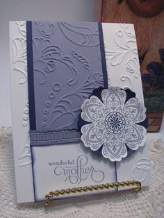 Notice how Yvonne Gebauer made sure that the embossing folder image lines up from layer to layer.