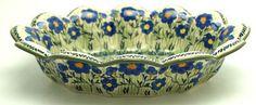 Polish Pottery - Fruit Bowl - Bold Blue Blossoms   The Polish Pottery Outlet