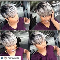 #Repost from @hairbylatise  Maybe, just Maybe I'll try this #GreyHair again  #GreyHairDontCare #WeaveUpTop #WeaveThatLooksNatural #HAIRbyLatise