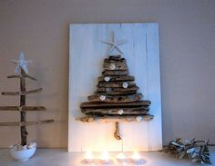 beachy Christmas diy decor - driftwood tree