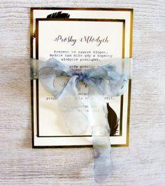 Zaproszenia ślubne złocone piórka W2