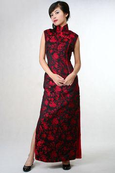 Red Peony & Bird Silk Brocade Cheongsam Dress   Kimono and Silk