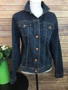 7a06901017 Lands End Womens Jean Jacket Dark Wash Denim Cotton Spandex XL 18  LandsEnd   JeanJacket